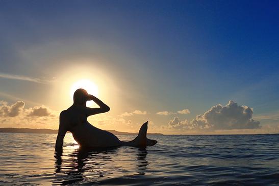 夕日を背にした人魚