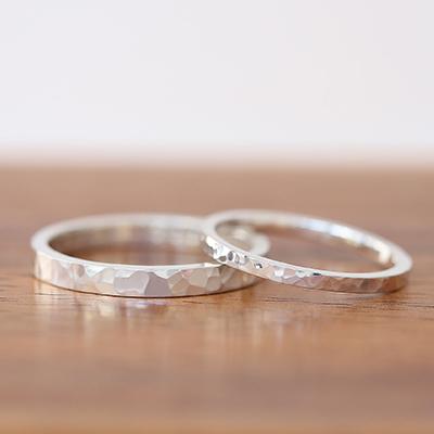 手作り結婚指輪コース | フラットタイプ 槌目仕上げ